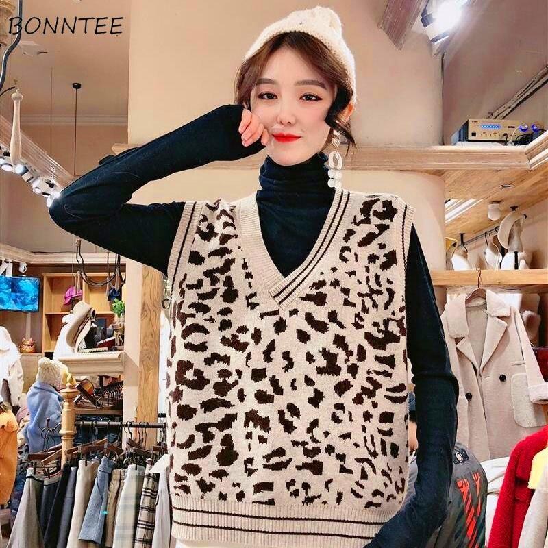 Vests Women Leopard Sexy V-Neck Elegant Ladies Knitting All-match Loose 2XL Korean Chic New Harajuku Womens Pullover Fashion HOT