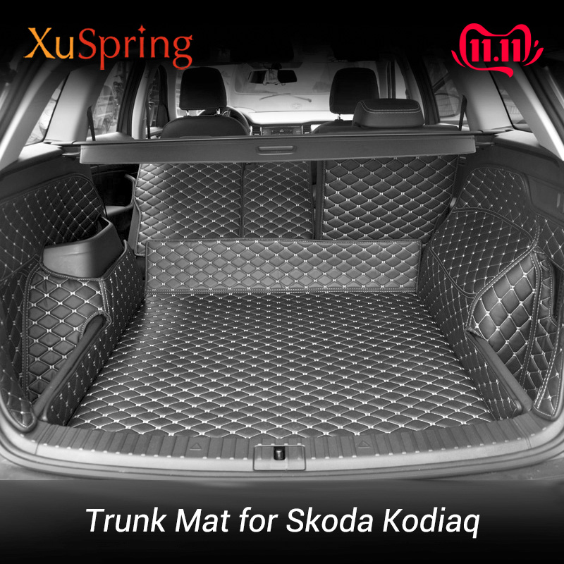 For Skoda Kodiaq 2017 2018 2019 2020 Rear Tail Car Trunk Mat Protective Covers Cargo Liner Styling