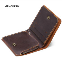 GENODERN Genuine Leather Male Purse with Coin Pocket Vintage