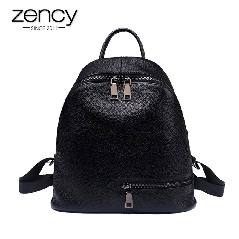 2019 Fashion Blue White 100% Genuine Leather Women Backpack Preppy Teenage Girls Schoolbags Simple Knapsack Female Travel Bag