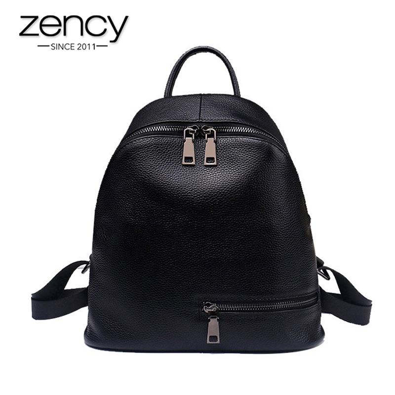 2019 Fashion Blue White 100% Genuine Leather Women Backpack Preppy Teenage Girls Schoolbags Simple Knapsack Female Travel Bag