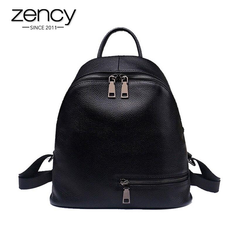 Zency หนังวัวแท้ 100% หนังสไตล์เรียบง่ายผู้หญิงกระเป๋าเป้สะพายหลังทุกวันกระเป๋าเดินทางลำลองสำหรับสุภาพสตรีขนาดเล็กชายหาดกระเป๋าเป้สะพายหลังคุณภาพสูงนักเรียนกระเป๋านักเรียนสีดำสีขาว-ใน กระเป๋าเป้ จาก สัมภาระและกระเป๋า บน   1