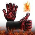Перчатки для барбекю, термостойкие митенки для духовки, 800 градусов, огнеупорные теплоизоляционные перчатки для барбекю, для микроволновой ...
