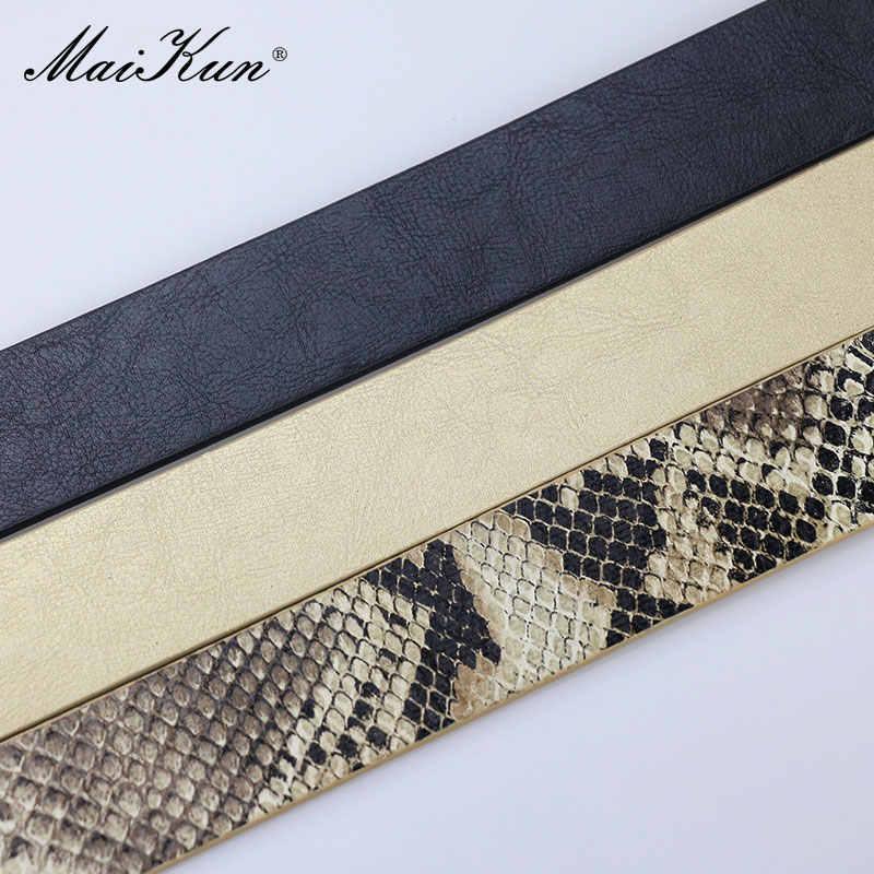 Maikun kemerler kadınlar için yılan şekli Pin toka kemer yüksek kaliteli deri kadın kemeri