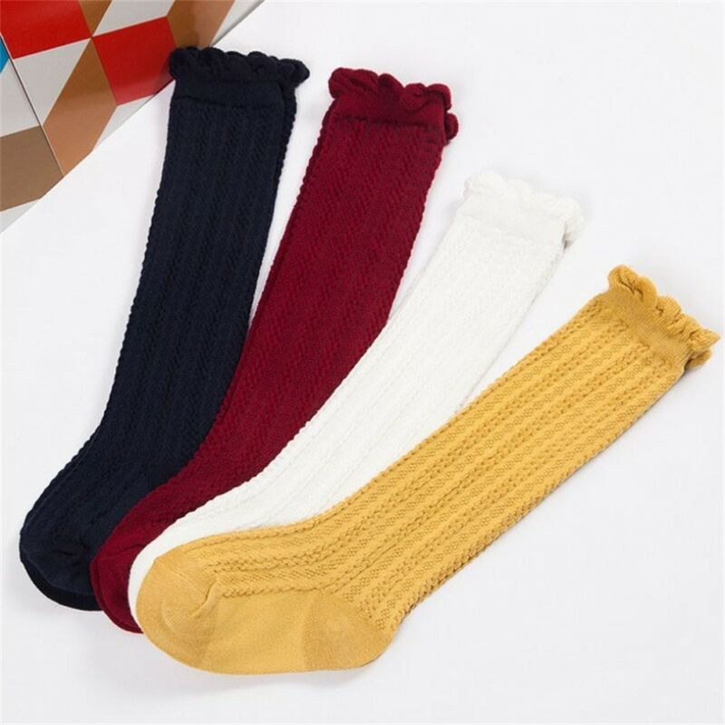 0-3Years Toddler Kid Baby Girls Socks Solid Ruffles Autumn Winter Children Girls Socks Knee High White Red