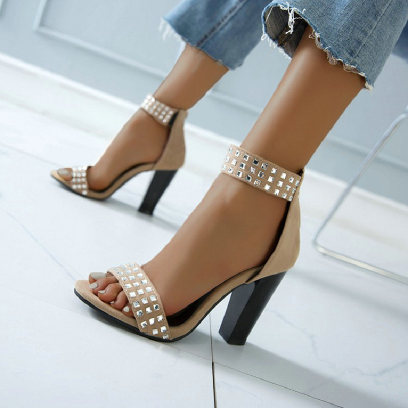ZawsThia 2020 Rhinestone Sandals High Heels Sexy Ladies Pumps Open Toe Woman Party Wedding Shoes Womens Sandals Big Size 49 50