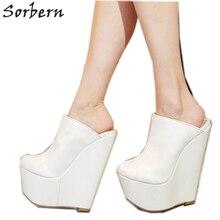 Sorbern สีขาว SLIP ON Mules WEDGE แพลตฟอร์มรองเท้าส้นสูงชี้ Toe 7 นิ้วรองเท้าส้นสูงสตรีรองเท้ารองเท้าที่กำหนดเองที่กำหนดเองสี