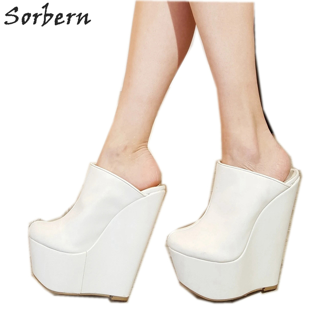Sorbern White Slip On Mules Wedge Platform High Heels Pointed Toe 7 Inch Heels Womans Designer Shoes Custom Multi Colors