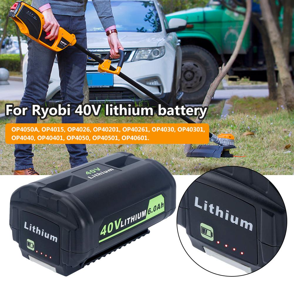 40V 6000mAh Lithium Ion Battery OP4050A Replacement Professional Battery For 40-Volt Ryobi Cordless Power Tools