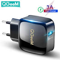 QGEEM-cargador USB 3,0 de carga rápida para iPhone, cargador de teléfono con adaptador de enchufe de 12V para EE. UU. Y UE, cargador rápido para Huawei, Samsung y Xiaomi