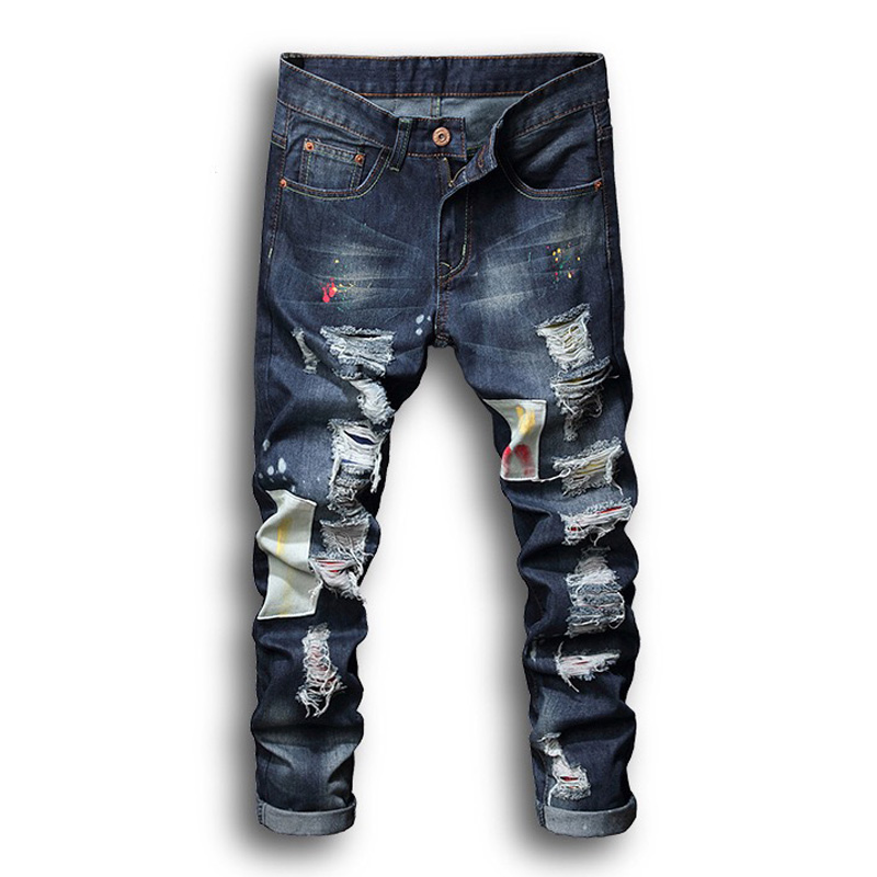Fashion Men's R Jeans Blue Color Streetwear Punk Pants Hip Hop Jeans Men Slim Fit Cargo Pants Homme