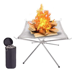 Portable Contractile BBQ Holder Rack Outdoor Portable Fire Rack Folding Table Grill Stainless Steel Point Charcoal Stove