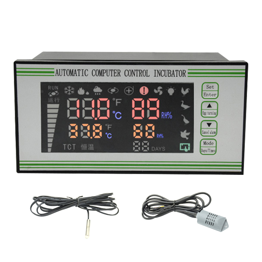 Temperature Probe Thermostat LCD Display Hygrostat Humidity Sensor Hatchery Digital Incubator Controller Multifunction Button
