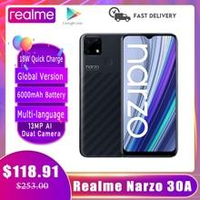Realme Narzo 30A смартфон глобальная версия 4GB/64GB Helio G85 6,5 'дюймовый полноэкранный 6000 мА/ч, 18 Вт 9V2A быстрой зарядки мобильных телефонов