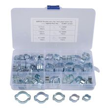 Double Ear Hose Clips Water Fuel Air Clamps for 5-7MM Zinc Plated Assortment Box 140pcs double ear steel o clips clamps steel zinc plated assortment for hydraulic hose fuel o type pipe ear tube clamp