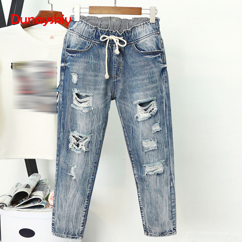 Summer Ripped Boyfriend Jeans For Women Fashion Loose Vintage High Waist Jeans Plus Size Jeans 5XL Pantalones Mujer Vaqueros