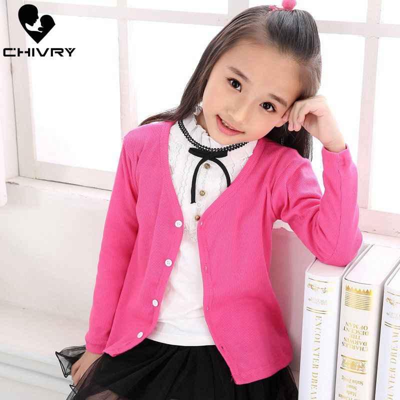 Chivry New 2019 소년 소녀 키즈 패션 솔리드 니트 카디건 스웨터 키즈 어린이 스웨터 봄 가을 Cargidans Outwear