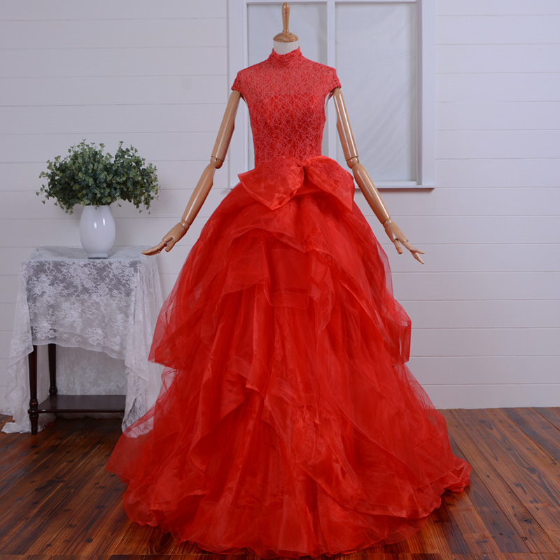 Red Lace Prom 2018 High Neck Vestido De Festa Real Photos Evening Gown Cap Sleeve Bow Organza Tiered Mother Of The Bride Dresses
