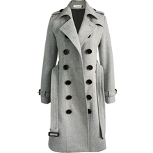 gray double breasted slim wool blends coat women lapel autum