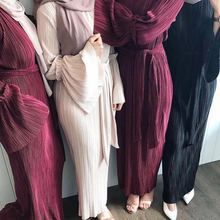 Pleated-Dress Abaya Islamic-Clothing Ramadan Arab Muslim Turkey Women Saudi UAE Lace-Up