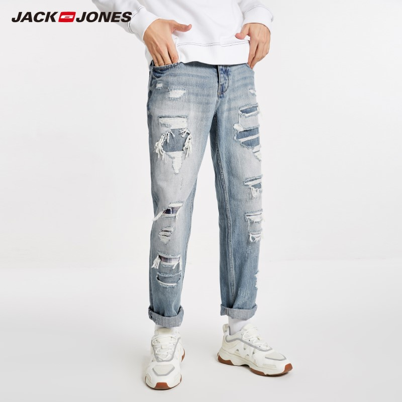 JackJones Autumn  Men's Light Ripped Jeans Hole Casual Menswear 218432521