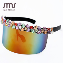 Oversized Diamond Goggle Sunglasses Women One-piece Vintage Mirror Colorful Crystal Sunscreen Shades UV400 Retro Hat Glasses