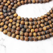 LingXiang  natural Yellow dull-polish Tiger Eye stone loose beads 6 8 10 12mm DIY men and womens bracelet necklace accessories
