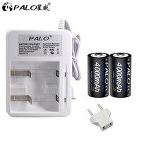 PALO-batería recargable de celda R14 C, 4000mAh, tamaño C, cargador de batería para 1,2 v Ni-MH ni-cd AA AAA C D