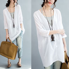 Блузка женская хлопковая с длинным рукавом модная белая рубашка
