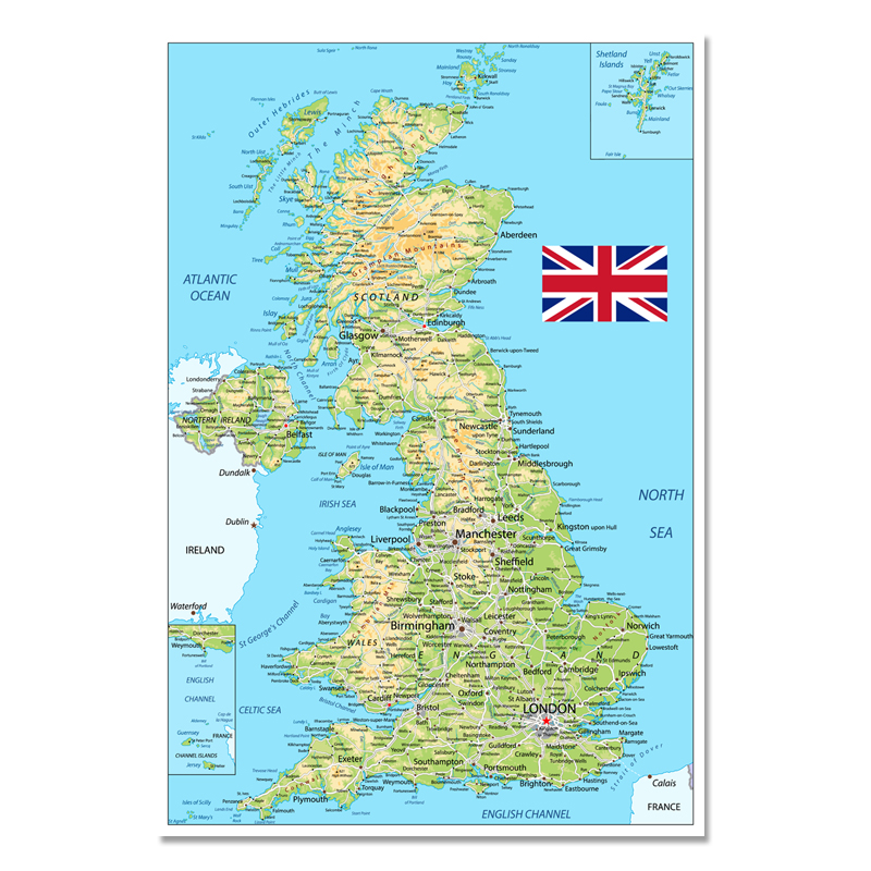 1 Pcs 54x80cm United Kingdom Map Poster Size Wall Decoration Large Map Of The United Kingdom Waterproof And Tear-resistant