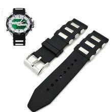 Pulseira de relógio de metal preto, pulseira de relógio de silicone da moda genérica, esportiva, pulseira de substituição, 20mm 22mm 24mm 26mm cinto de pulseira para relógio