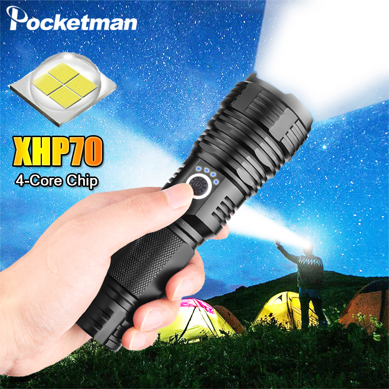 XHP70.2 LED Flashlight Tactical Flashlight 5 Lighting Modes Zoombable Camping Waterproof With 18650/26650 Hunting Lamp