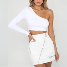 One Shoulder Slope Neckline T Shirt Sexy Solid Long Sleeve Women's Tshirt White Black Crop Top Ladies T-shirt 2021 New Fashion
