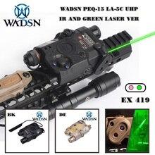 Wadsnエアガン戦術的な懐中電灯PEQ15 LA5 uhp外観グリーン/irレーザーとledライトLA 5C softair戦術peq LA5C WEX419