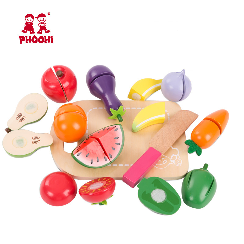 Kids Wooden Cutting Fruit Vegetable Toy Children Pretend Kitchen Accessories Food Play Game Toy  PHOOHI