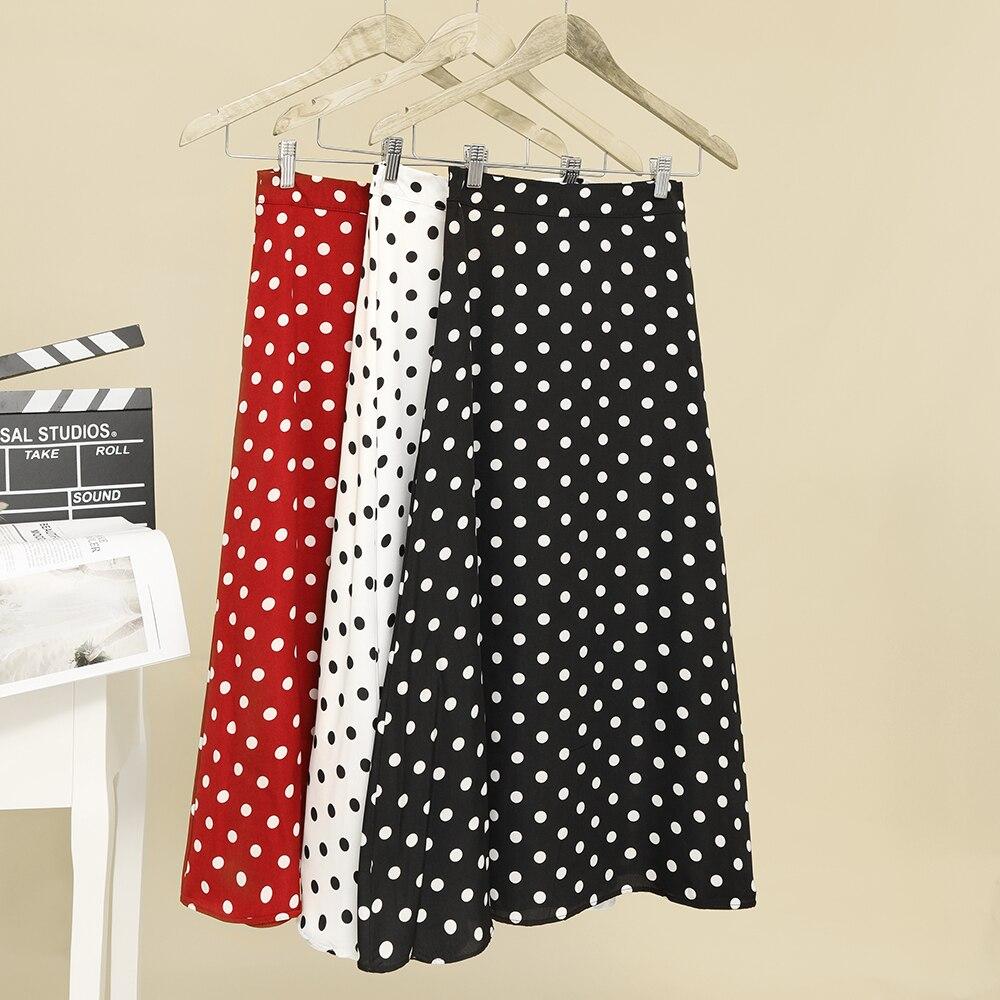 2020 New Women High Waist Polka Dots Skirt Elegant Midi Length Skirts Wrap Dots Chiffon Skirt Korean Fashion