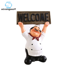Strongwell Resin Chef Statue Crafts People Ornament Home Decoration Accessories Figurines Living Room Decor Wedding Gifts