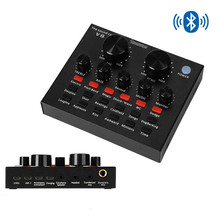 Bluetooth V8 Live Sound Card USB Intelligent Mixer Sound Card with Multiple Funny Sound Effect for Recording Hosting Speech Live