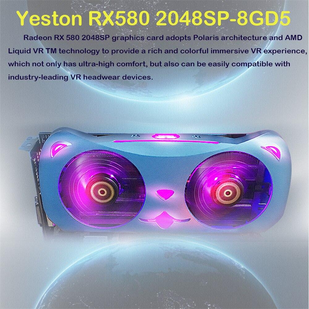 Radeon RX590 8G GDDR5 256bit PCI Express X16 3.0 Video Gaming Graphics Card DVI+HDMI+3*DP For Desktop