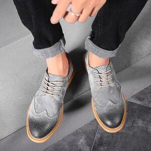 Image 2 - Männer Flache Hohl Plattform Schuhe Oxfords Britischen Stil Creepers Brogue Schuh Männlich Lace Up Schuhe Plus Größe 38 46 casual Schuhe