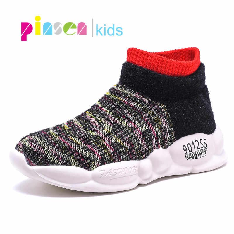 PINSEN 2019 Yeni Sonbahar Çocuk Ayakkabı Kız Çorap Ayakkabı Moda Çocuk Ayakkabı Örgü Nefes çocuk ayakkabıları Erkek rahat ayakkabılar