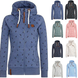 Hot Style Parka Women Printed Hoodies Winter Zip-up Jacket Warm Full Sleeves Outwear Soft Full Coats Large Size Women's Clothing