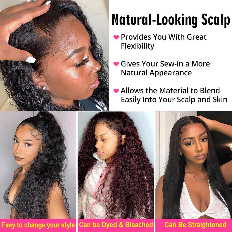 Pelo AliPearl, extensiones de cabello humano 100% con ondas al agua, con tejido Frontal de pelo brasileño, 3 mechones de extensiones de cabello Remy, Color Natural