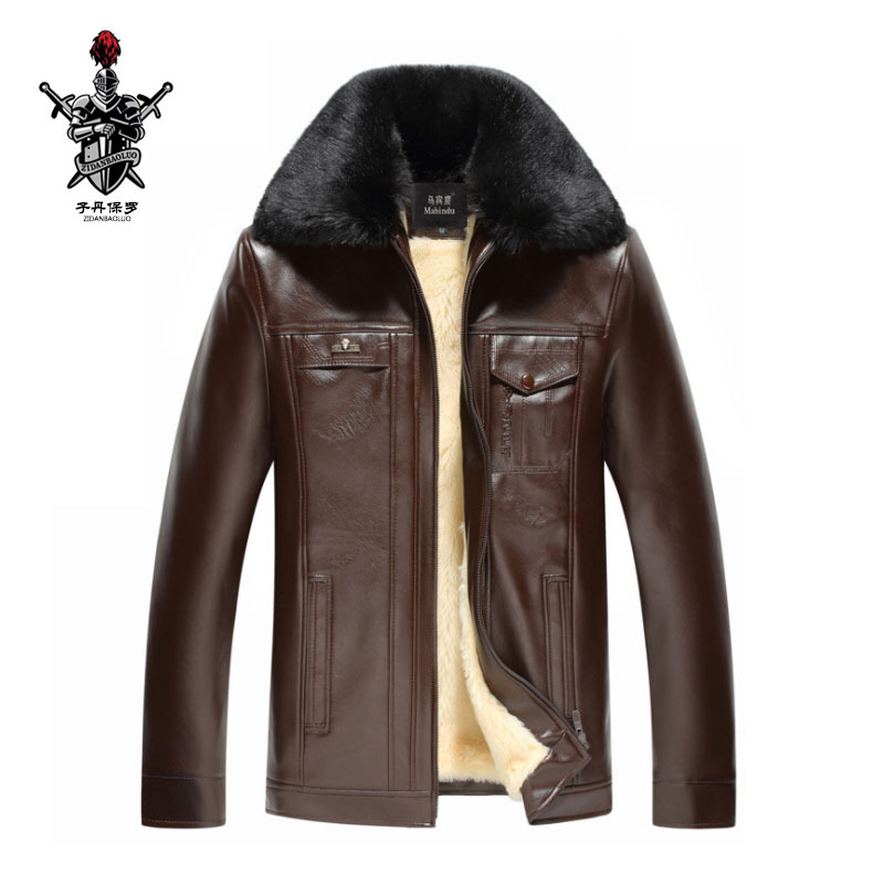 Autumn And Winter New Style Men PU Leather Fold-down Collar Brushed And Thick Daddy Clothes Casual Leather Jacket Coat