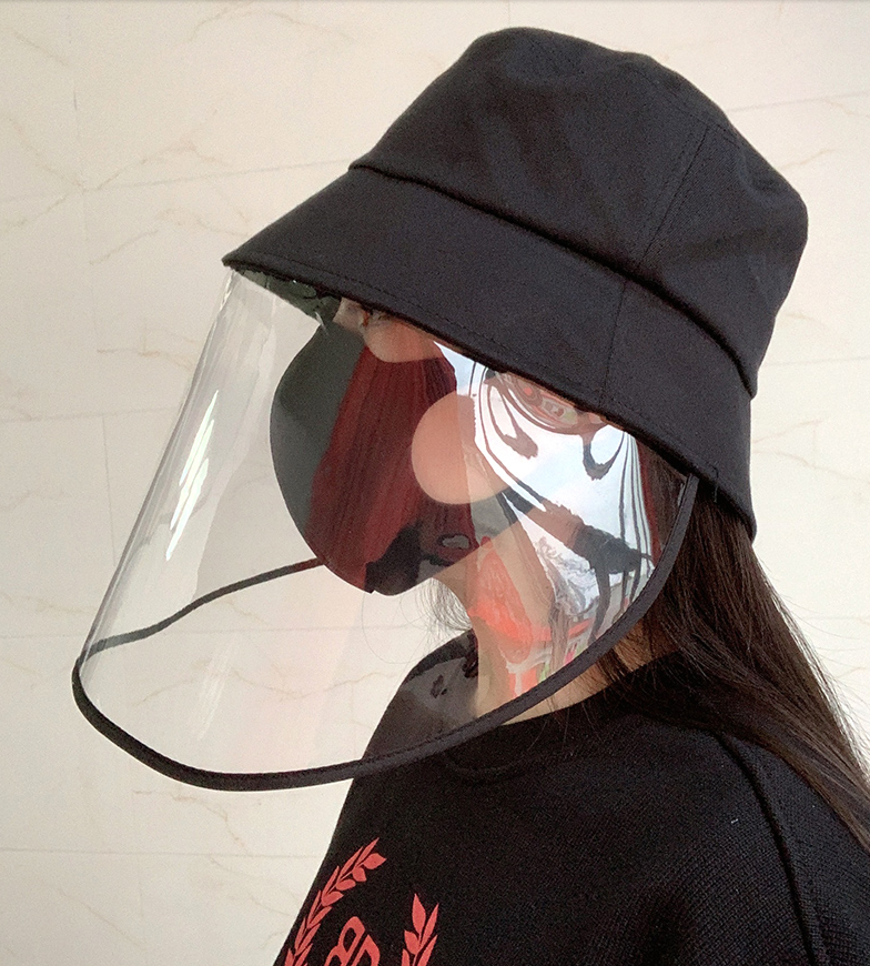 A162 Protective Face Mask Hat Male Female PVC Cover Stopping Caps Anti-droplet PVC Cover Protective Hats