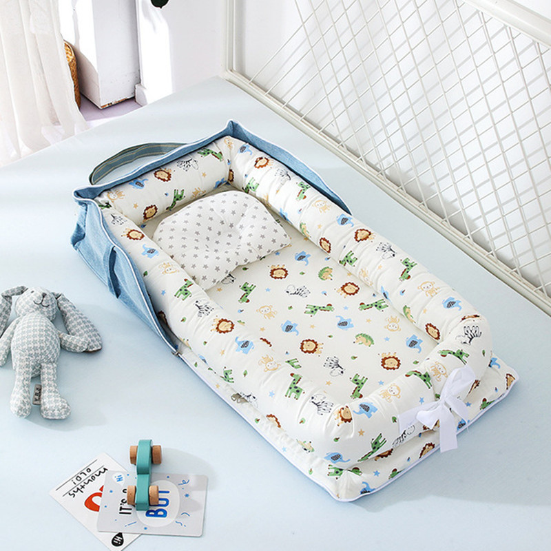 Portable Baby Bed Nest Removable Wash Travel Bed Bedding Cotton Nest  Baby Crib Foldable Newborn Isolation Protection Sleeping