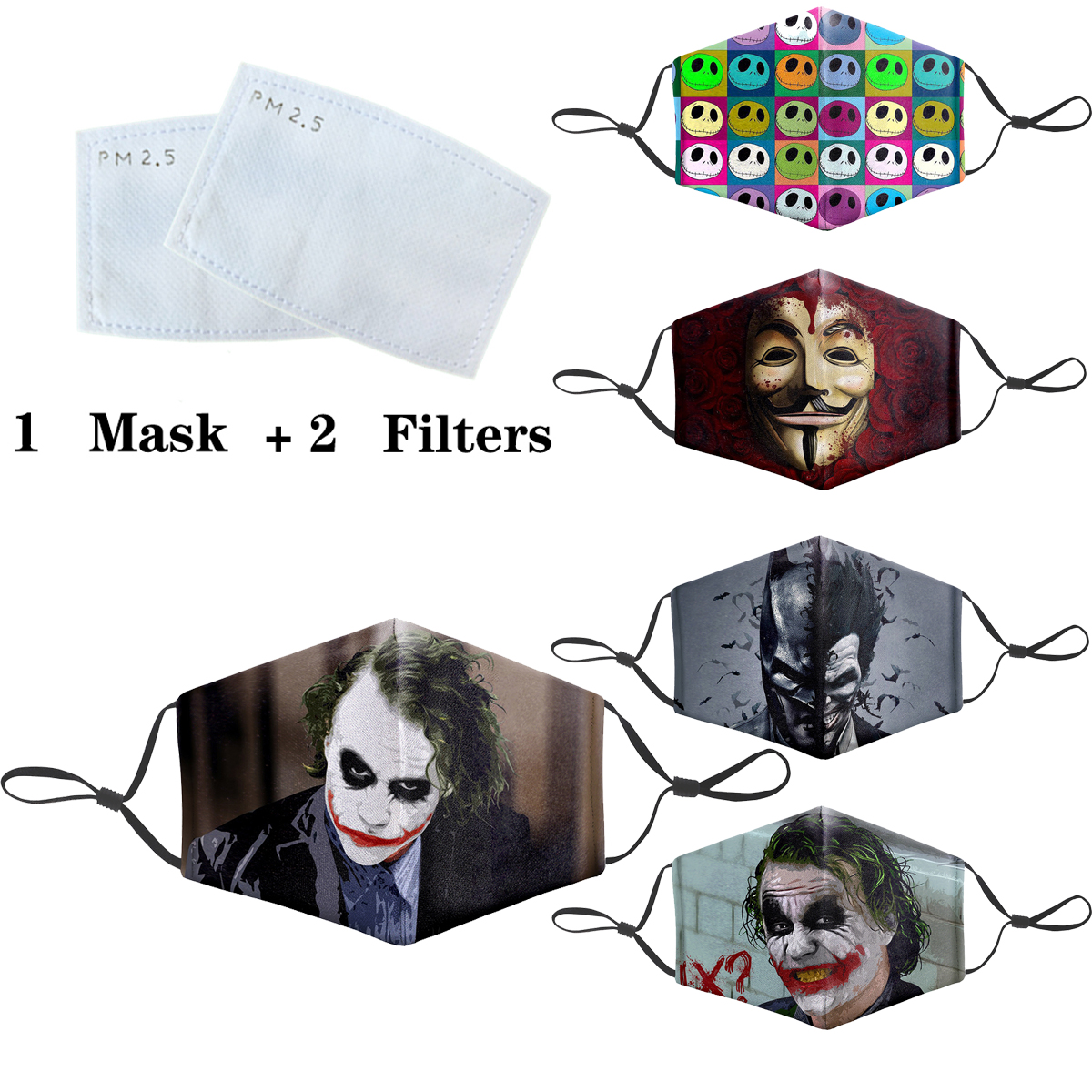 Joker Cosplayer Mask Cartoon 3D Masks Protective PM2.5 Filter Mouth-Muffle Washable Anti Dust Face Mask Bacteria Proof Flu Mask