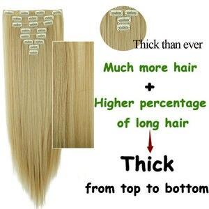 Синтетические волосы LISI, 16 зажимов для наращивания волос, длинные прямые накладные волосы, накладные волосы на заколках для наращивания волос
