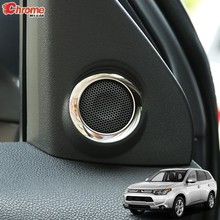 Voor Mitsubishi Outlander 2014 2015 2016 2017 2018 2019 Chrome Interieur Een Pijler Stereo Speaker Cover Trim Decoratie Auto Styling(China)
