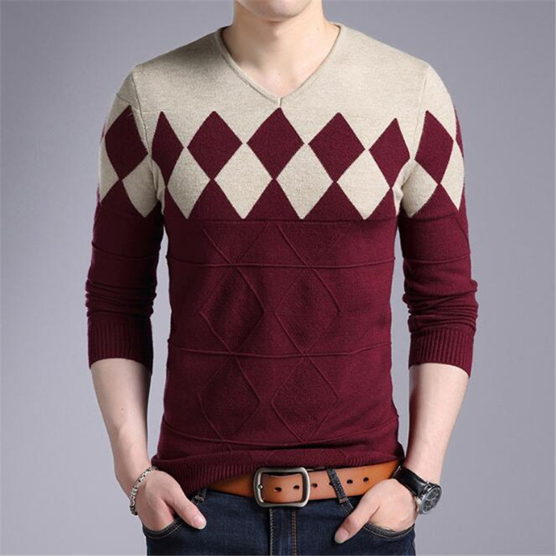 Fashion New Christmas Sweaters Cashmere Wool Sweater Men Winter Slim Fit Pullovers Men Argyle Pattern V-Neck Pull Homme Sweaters